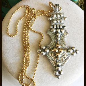 Signed Greek Designer 14k Sterling Byzantine Cross